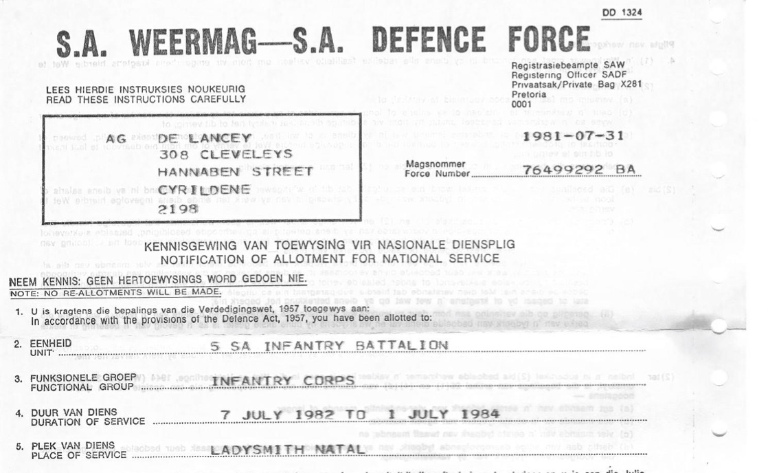 """Notification of Allotment for National Service"" in the 5 SA Infantry Battalion"
