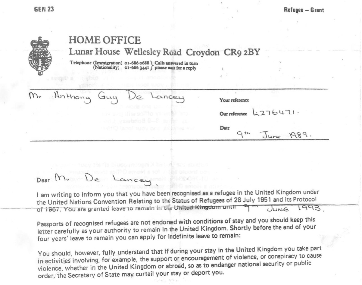 "Letter from the Home Office ""recognizing"" Mr. de Lancey as a refugee in the United Kingdom"