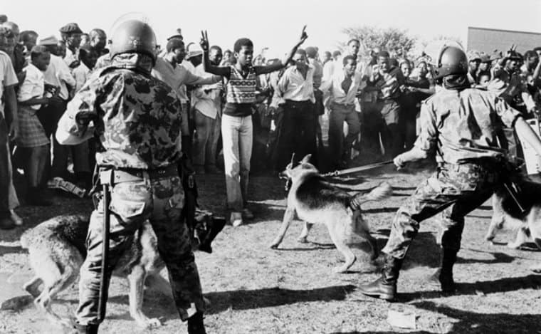 photograph of security forces with dogs hold back crowd protesting against Minister Piet Koornhof being given 1980
